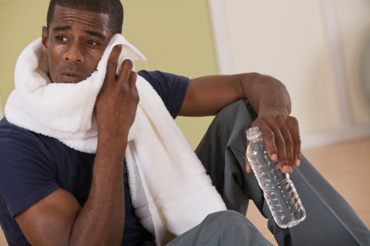 african american man exercise tired