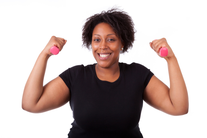 black woman with free weights