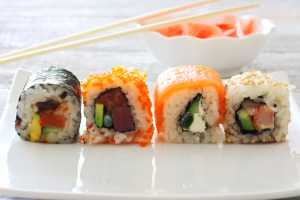 variety of sushi on a platter