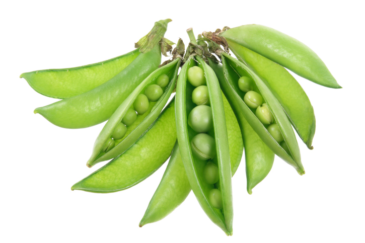 sugar snap peas on white