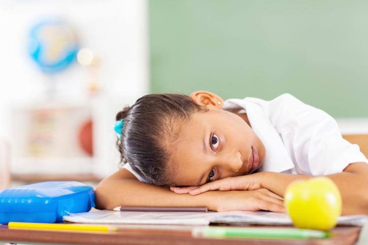 sad girl desk classroom