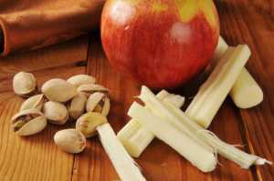 healthy snacks, pistachio, apple and string cheese