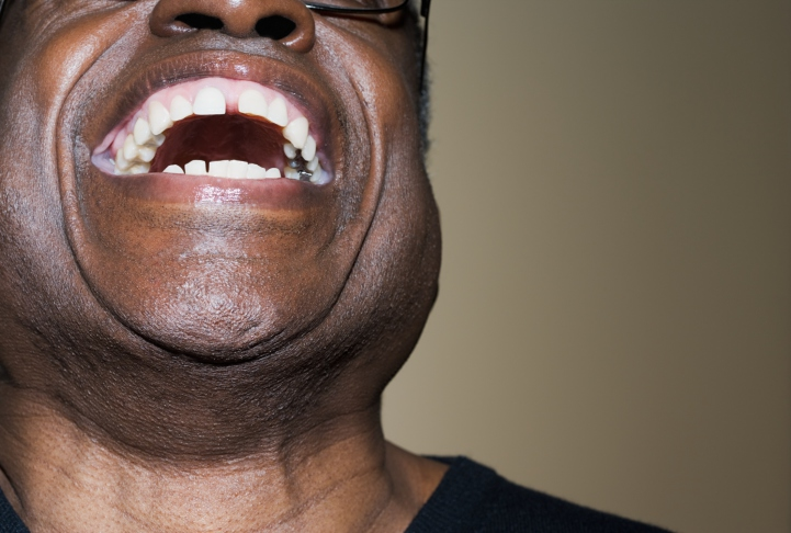 older african american man laughing