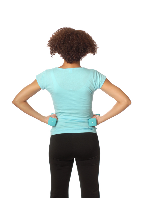 back view woman working out