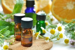 essential oils with fruits and herbs