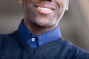 cropped shot of man smiling