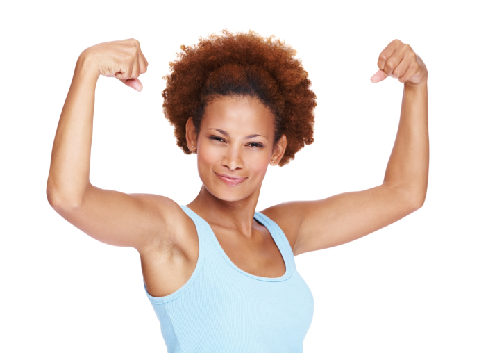 woman flexing arm strong