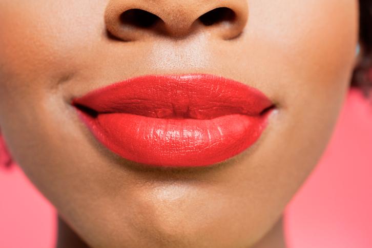 woman red lipstick