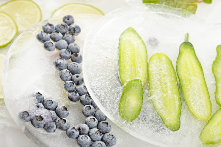frozen cucumbers and berries