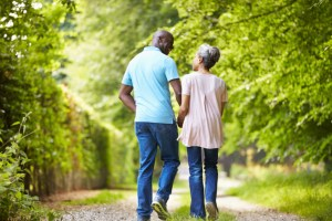 older couple walking and talking