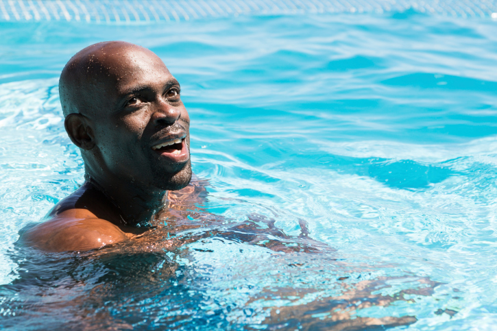 Attractive Man in a Swimming Pool
