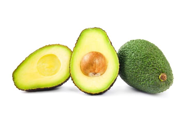 cut open half avocado