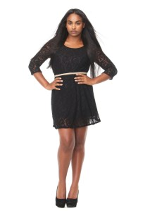 african american woman in black party dress