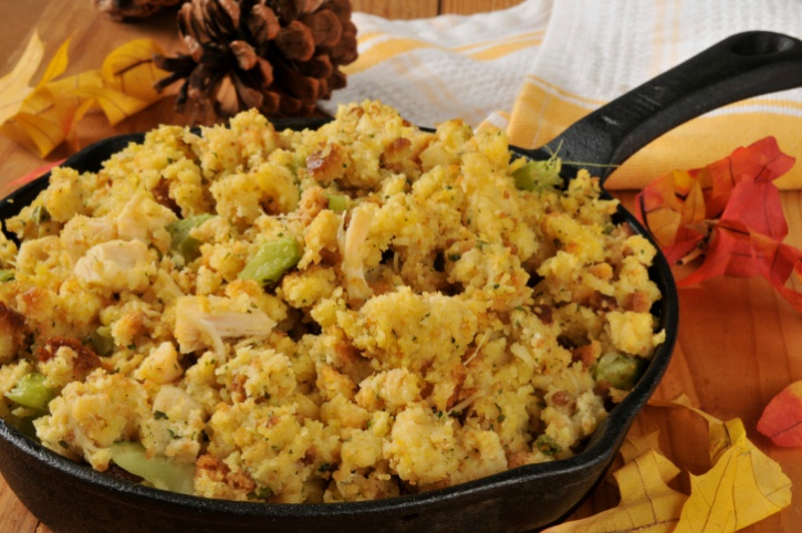cornbread dressing in skillet