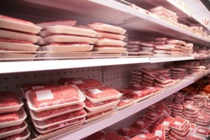 meat section in grocery store