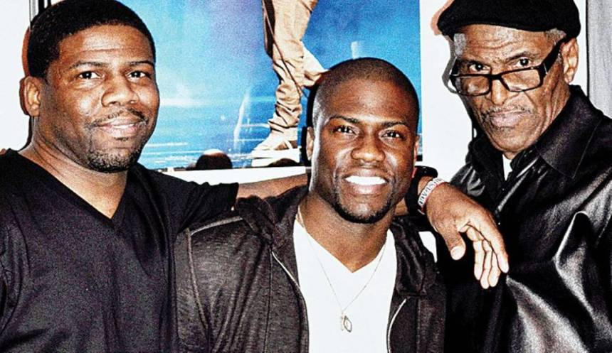 Kevin Hart's brother, Robert Hart, Kevin, and Kevin Hart's Dad, Henry