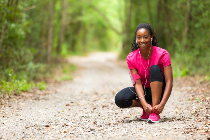 African American woman exercise trail