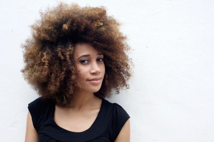 African American woman with curly natural hair