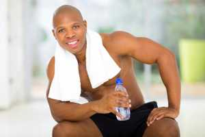 African American man exercising