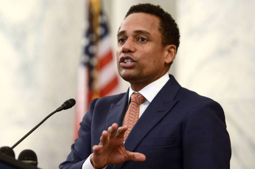 WASHINGTON, DC - APRIL 28: Hill Harper speaks during #JusticReformNow Capitol Hill Advocacy Day at Russell Senate Office Building on April 28, 2016 in Washington, DC. (Photo by Leigh Vogel/Getty Images)