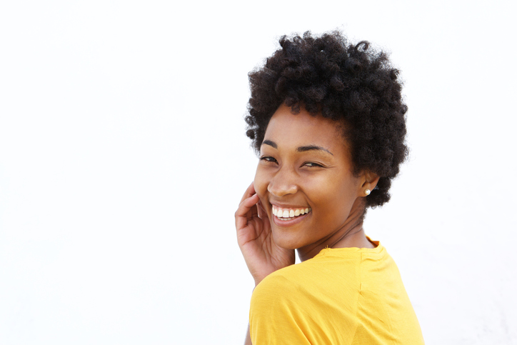 African American woman happy smiling natural hair
