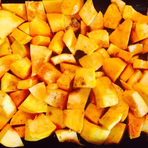 Squash in the roasting pan...