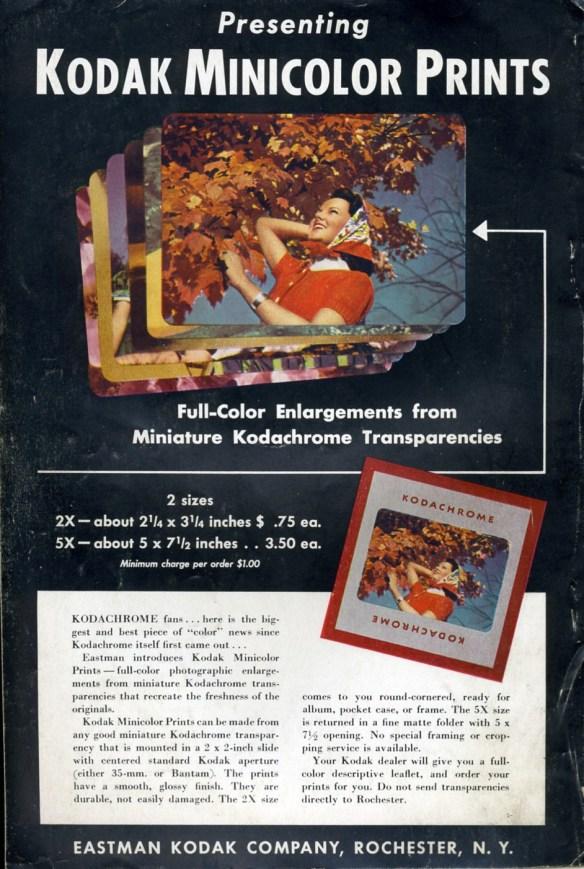 Kodak Minicolor print ad 1941