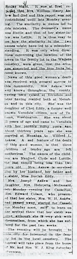 1909 Hattie Eddy Askew obit part 2