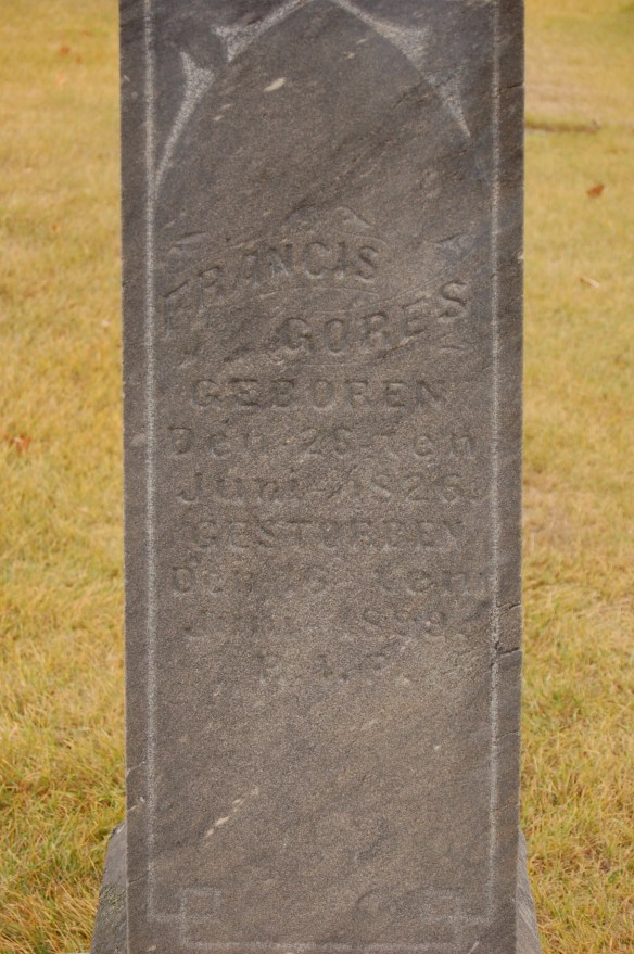 Headstone of Francis Gores, detail
