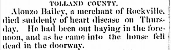 Alonzo Bailey death notice Norwich Aurora 1867