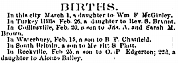 Catherine Isabelle Bailey birth notice 1858