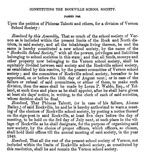 Constituting The Rockville School Society 1848
