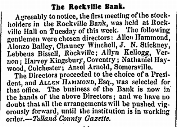 The Rockville Bank 1855