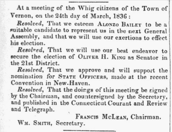Alonzo in the Whig party March 24 1836