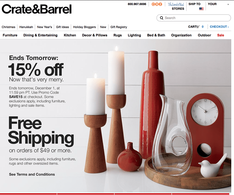 crate and barrel coupon crate amp barrel s cyber monday 2016 deals amp coupons 10676