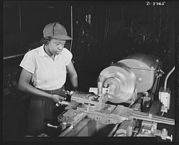 Beginning as a helper at $4.56 a day in the Washington navy yard, Miss Juanita E. Gray graduate trainee of the National Youth Adminstration War Production and Training Center now earns $45 a week. Source