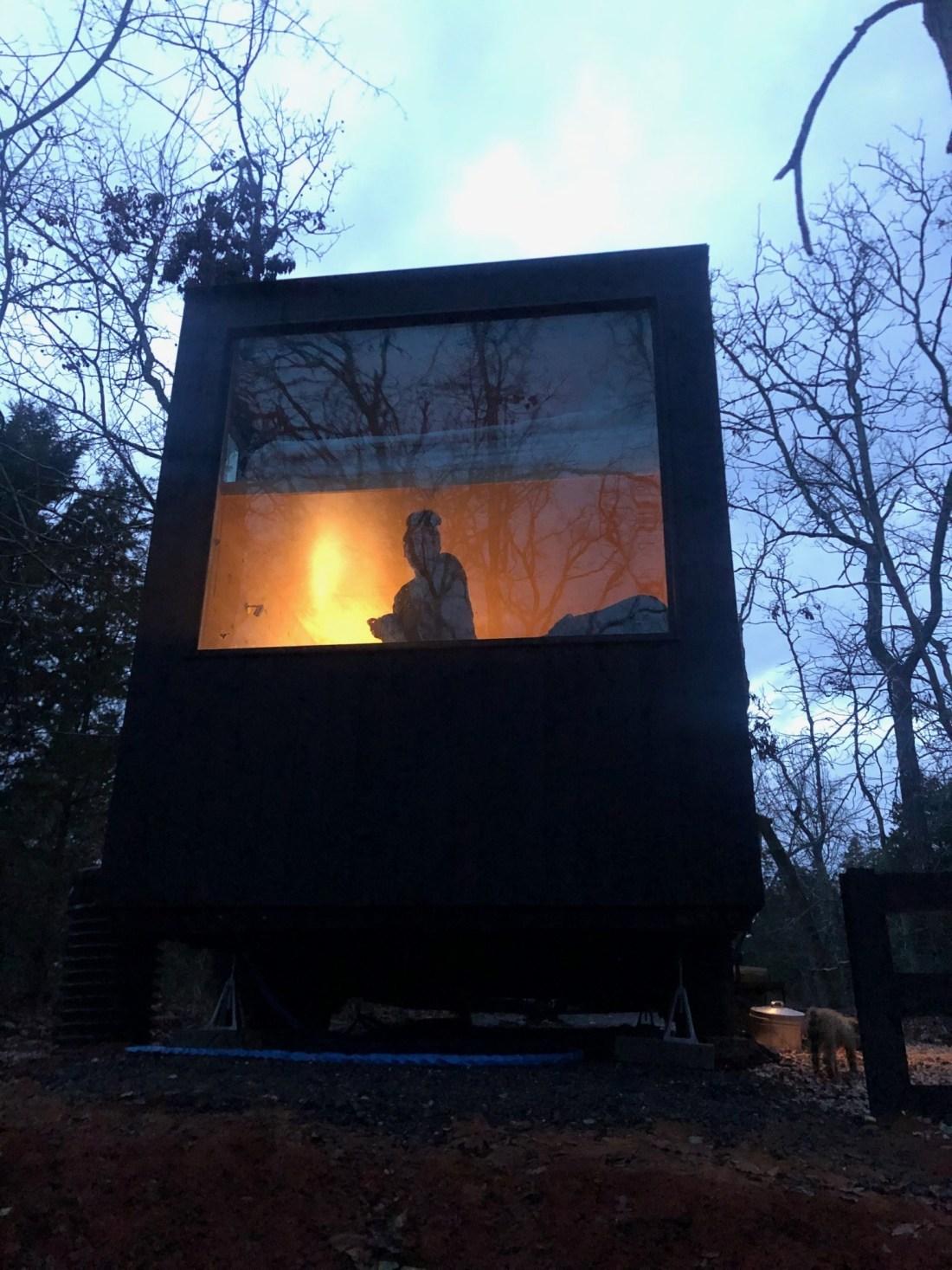 Getaway Dallas Cabin at Night