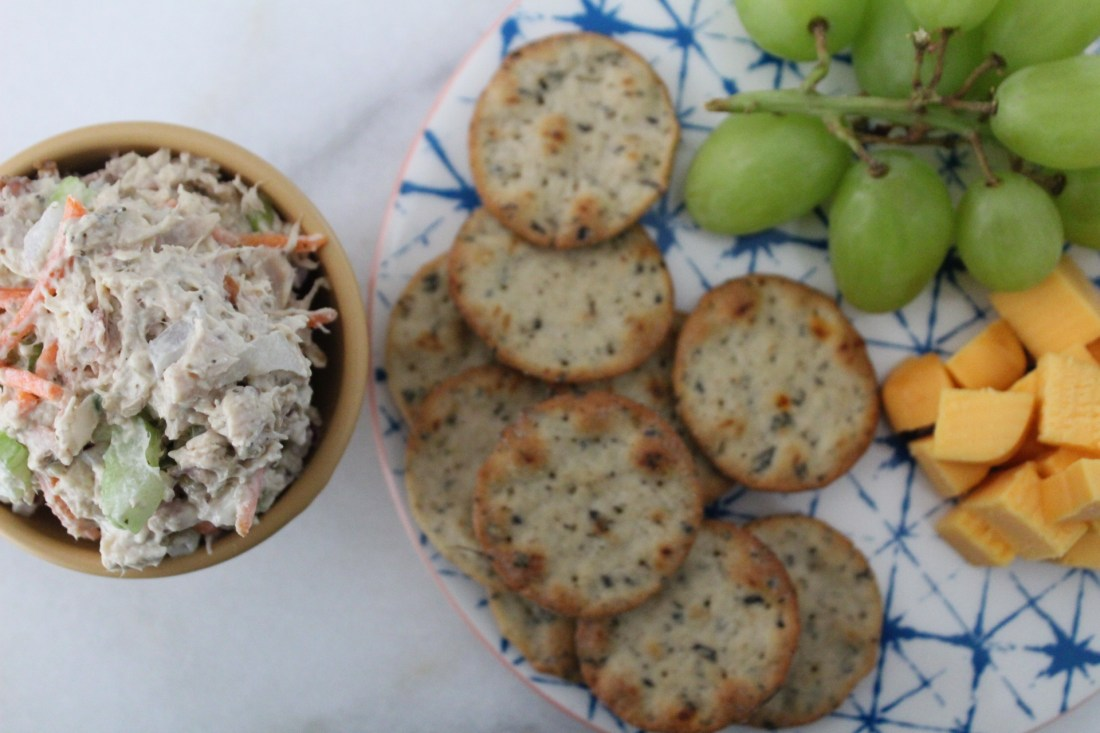 Easy Chicken Salad, Crackers, Grapes and Cheese