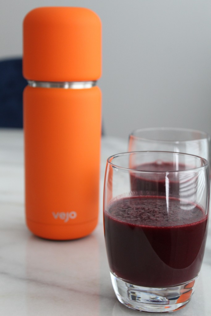 Orange Vejo Blender and Two glasses of Tart Berry Smoothies
