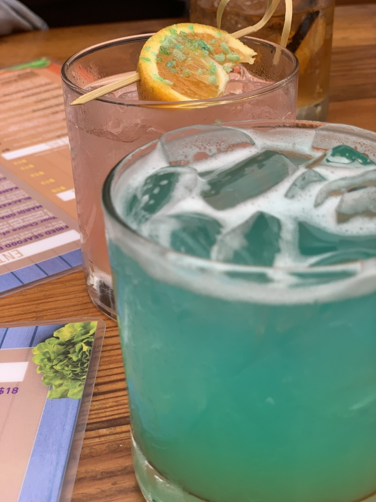 Blue Cocktail and Pink Cocktail in Background