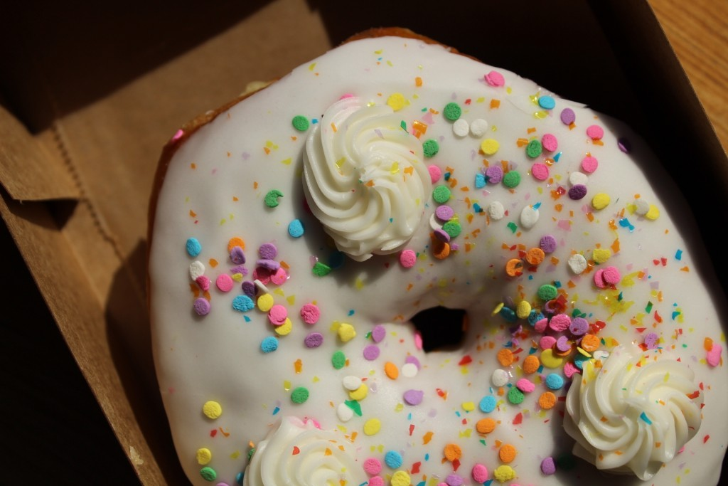 Donut Bar Cake Batter Donut White with Colorful Sprinkles