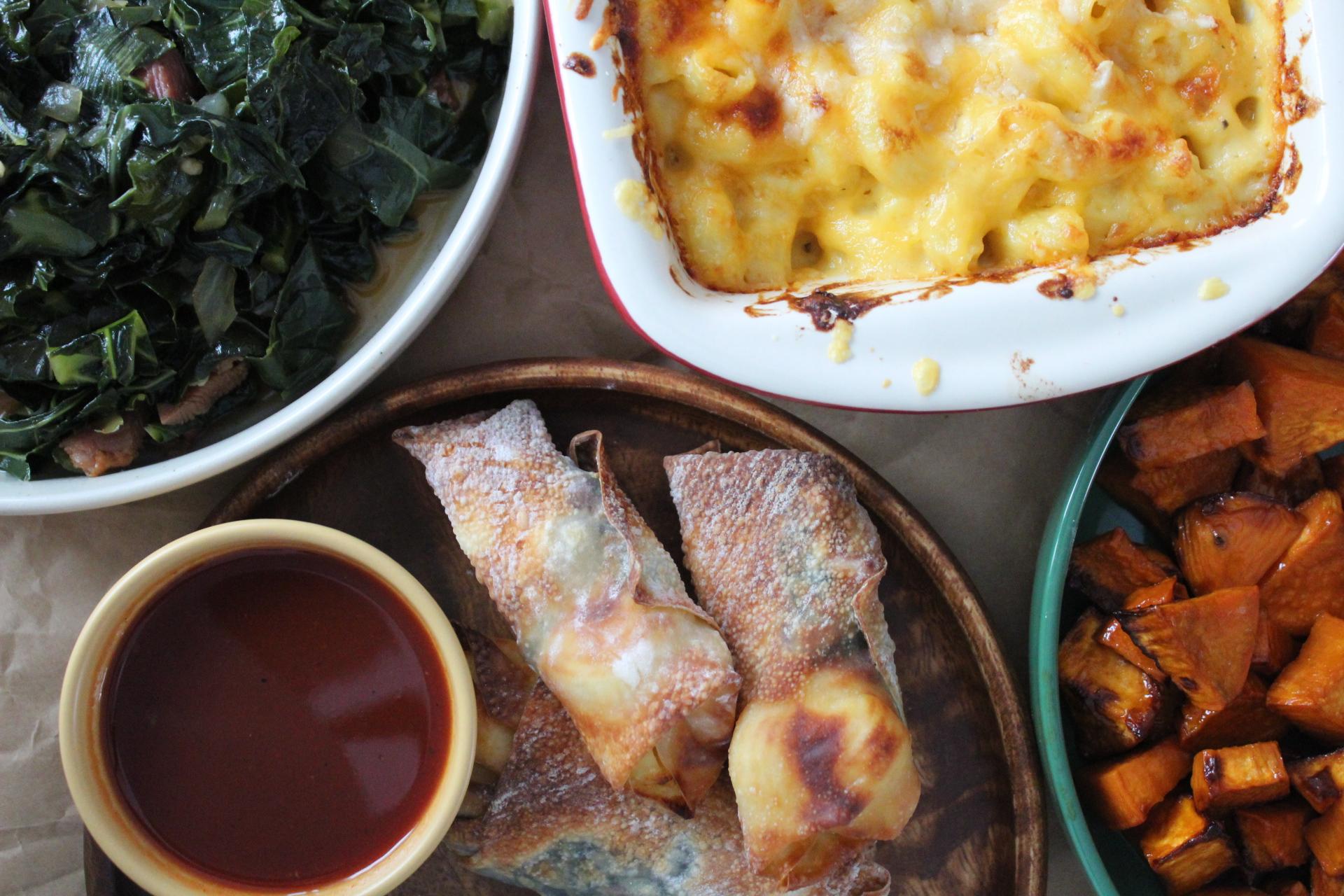 Soul Rolls, dipping sauce, mac & cheese, collard greens and sweet potatoes