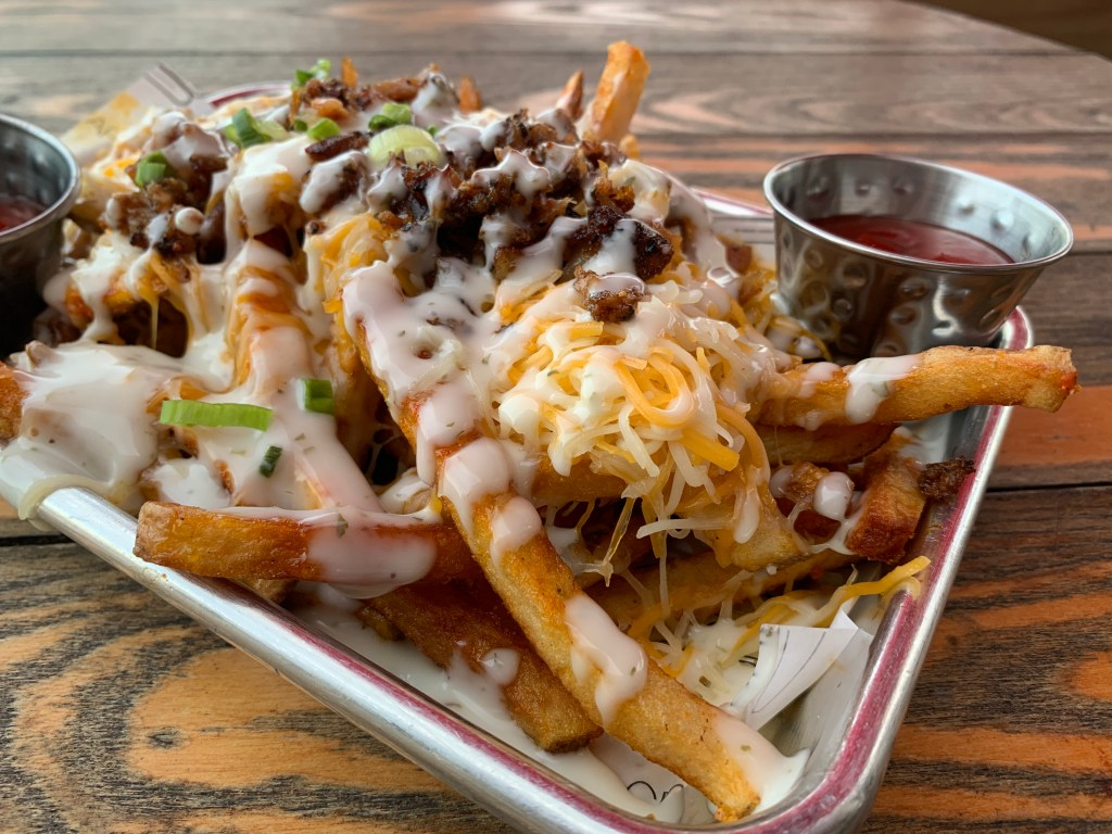 Loaded fries on a plate