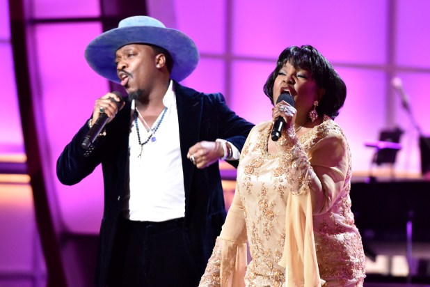 LOS ANGELES, CA - JANUARY 09:  Singer Anthony Hamilton (L) and Pastor Shirley Caesar perform onstage during BET Celebration Of Gospel 2016 at Orpheum Theatre on January 9, 2016 in Los Angeles, California.  (Photo by Earl Gibson/BET/Getty Images for BET)