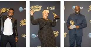 Travis Greene, Tamela Mann and Myron Butler in the press room at the 32nd Annual Stellar Awards Photo Credit: Maury Phillips, Courtesy of Central City Productions/TV One
