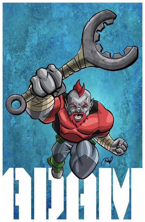 """Adam pinup from the comic """"The Resistants"""""""