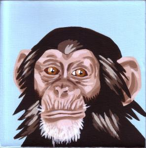 """Chimp"" acrylic painting"