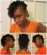 flat twisted curly mohawk - black