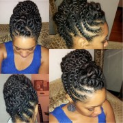 natural hair flat-twist updo protective