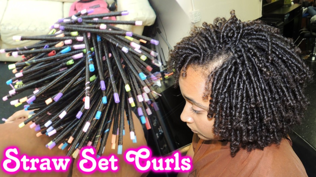STRAW SET On NATURAL HAIR Style Demo Video  Black Hair Information